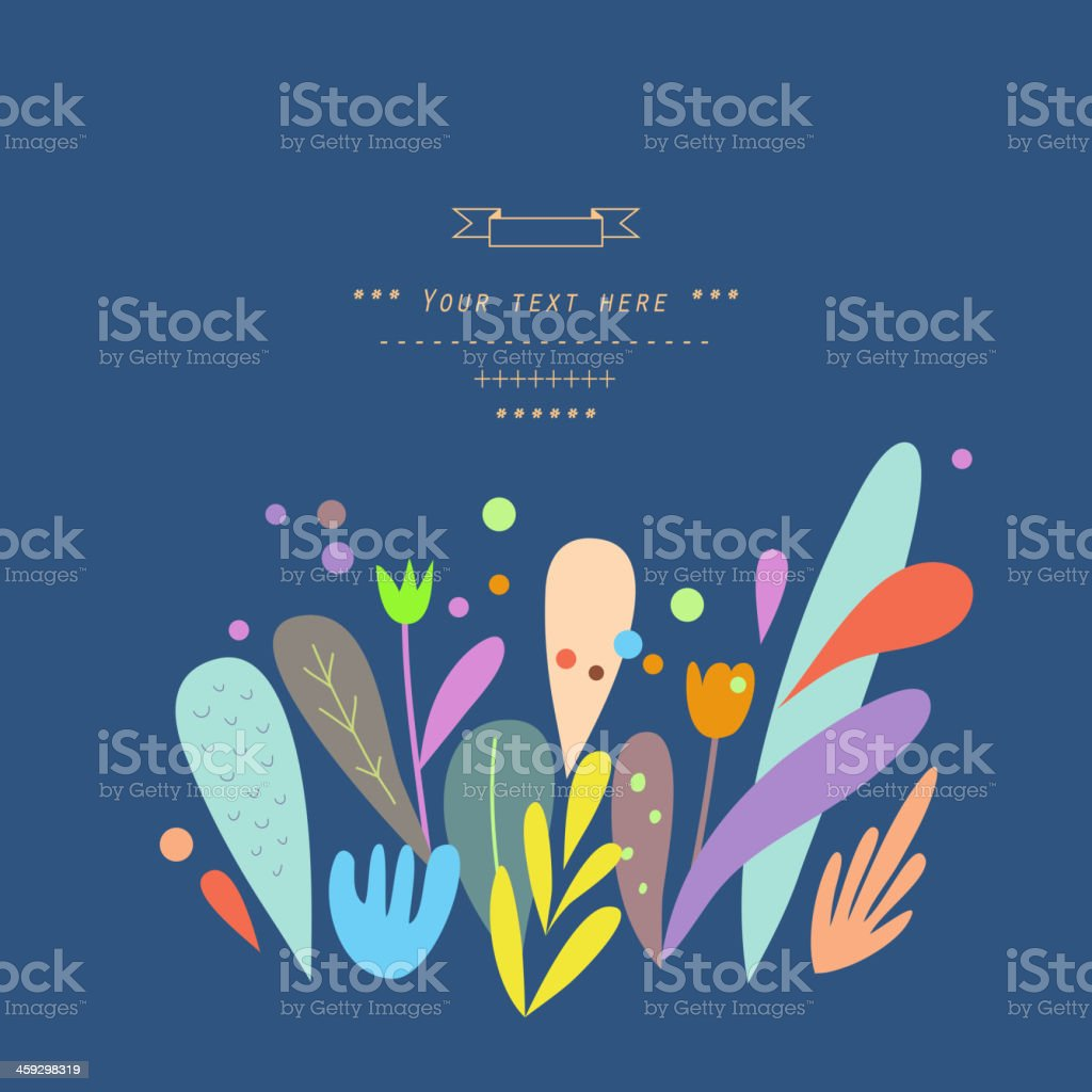 Decor with floral elements in vector royalty-free stock vector art