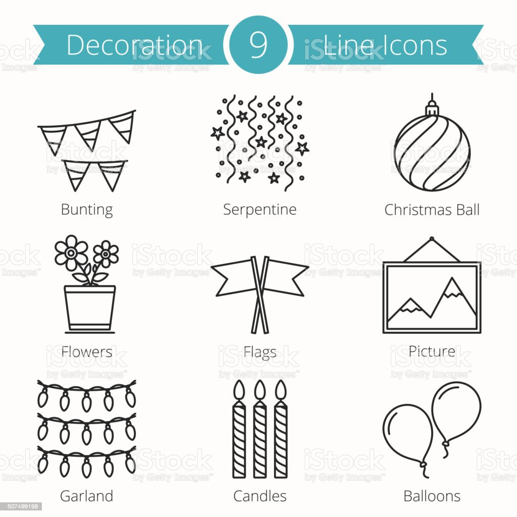 Decoraion Objects Line Icons vector art illustration