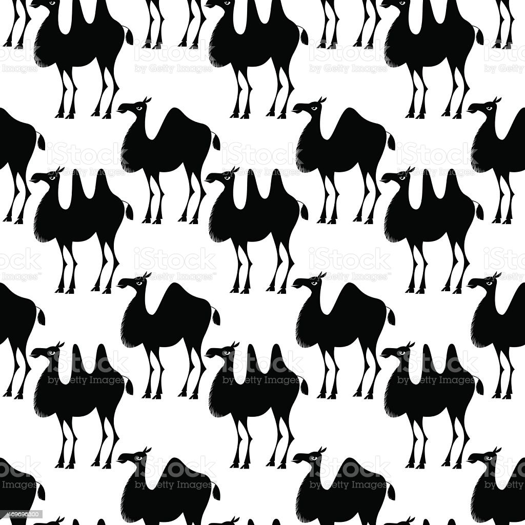 Decorated camels. Seamless background pattern. vector art illustration