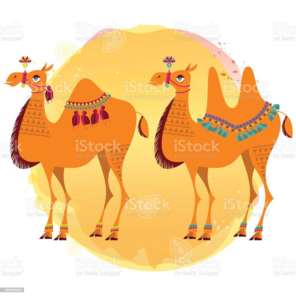 Decorated camels. vector art illustration