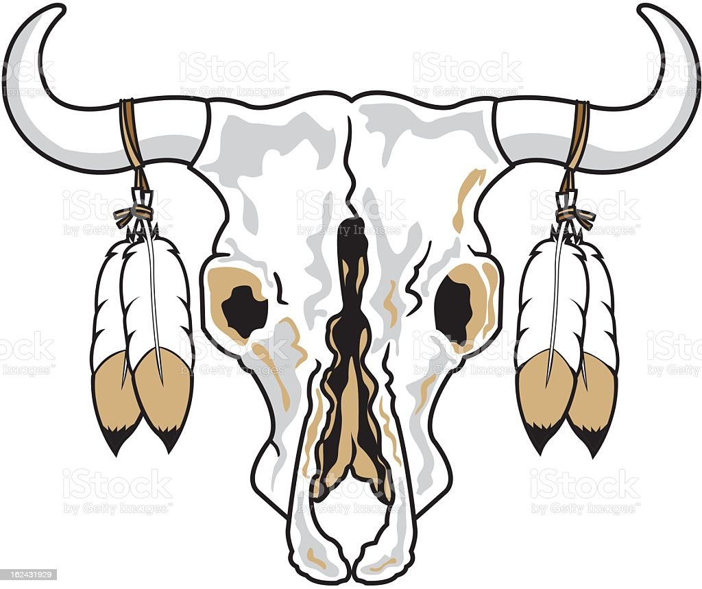 Decorated Cattle Skull royalty-free stock vector art