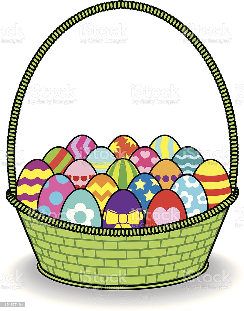 Decorated Coloured Eggs in a Green Basket royalty-free stock vector art