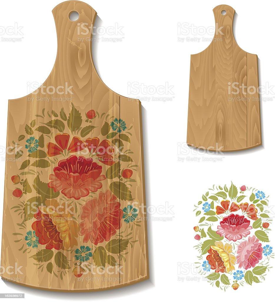 Decorated cutting board royalty-free stock vector art