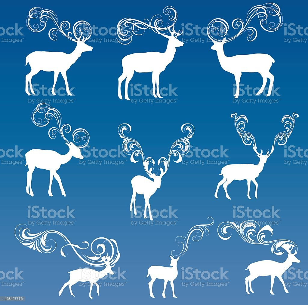 Decorated deer vector art illustration