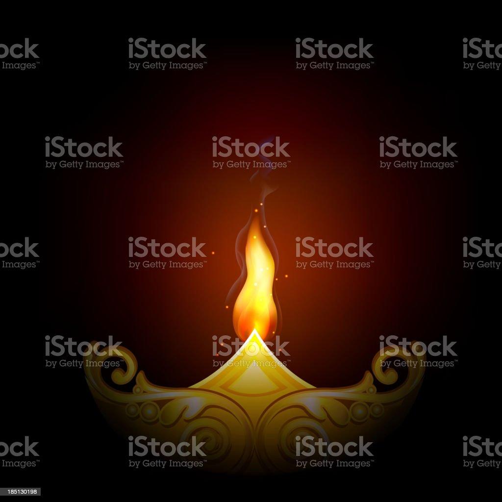 Decorated Diya for Happy Diwali royalty-free stock vector art