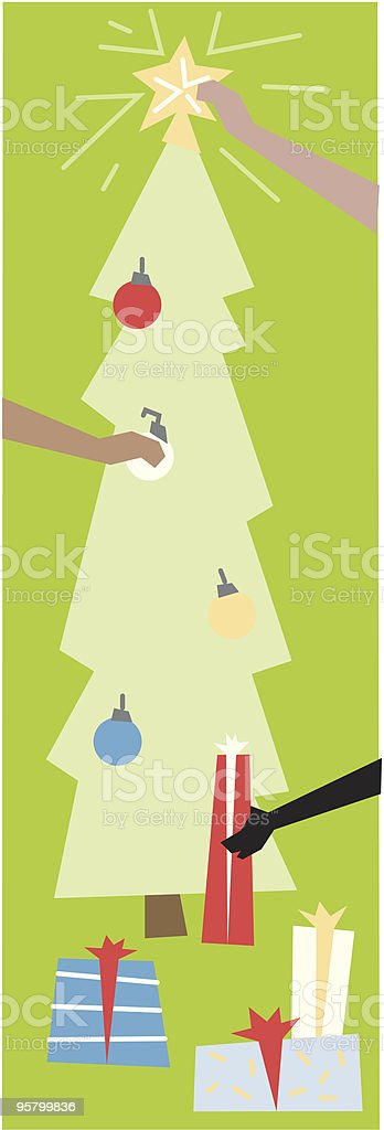 Decorating the Christmas tree vector art illustration