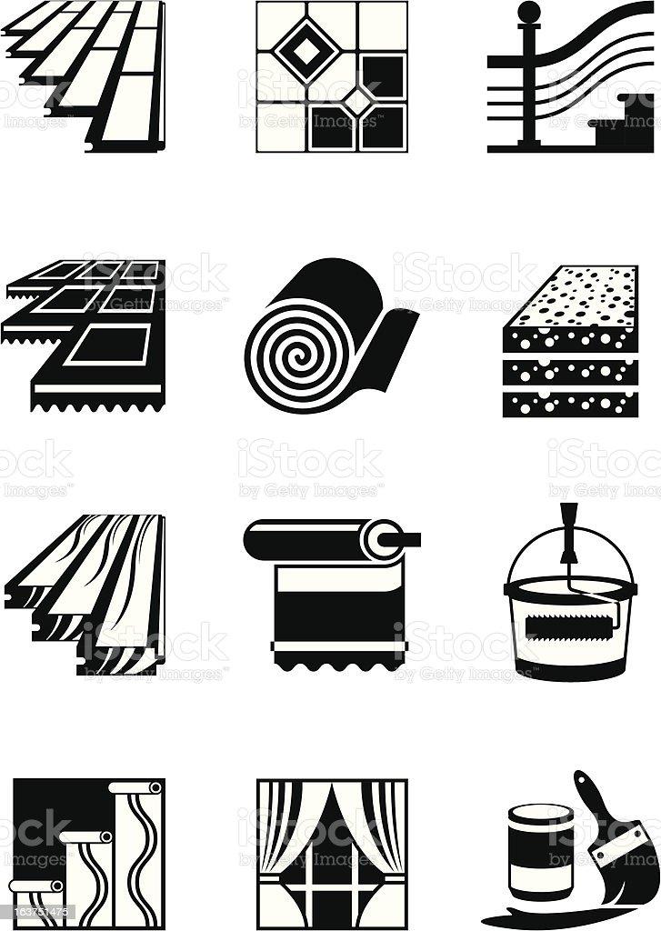Decoration materials for interior vector art illustration
