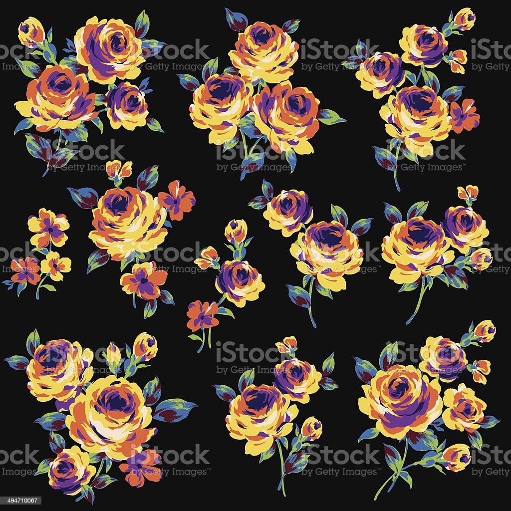 decoration of rose vector art illustration