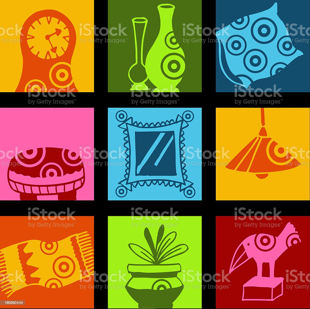 Decoration pop icons royalty-free stock vector art