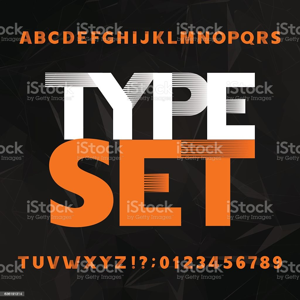 Decorative alphabet typeset vector art illustration