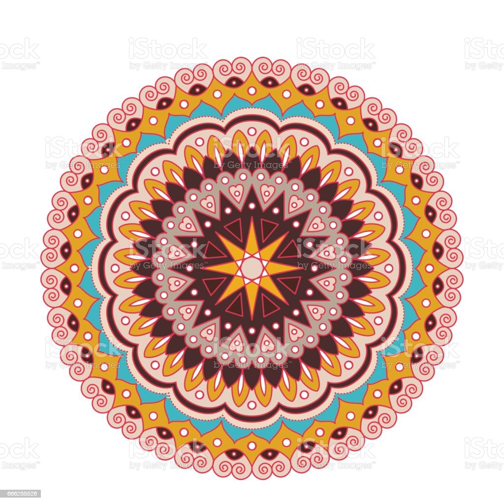 Decorative arabic round lace ornate mandala. Vintage vector pattern for print or web design. abstract colorful background vector art illustration