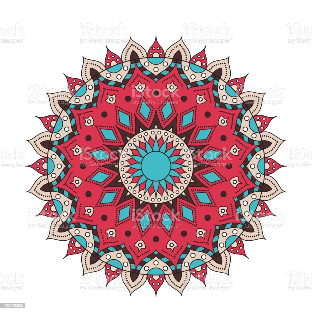 Decorative arabic round lace ornate mandala. Vintage vector pattern for print or web design. abstract colorful background. Invitation, wedding card vector art illustration