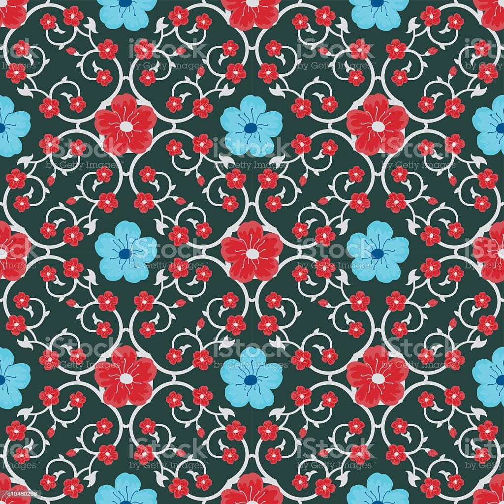 Decorative Asian Floral Seamless Pattern Blue and Red vector art illustration