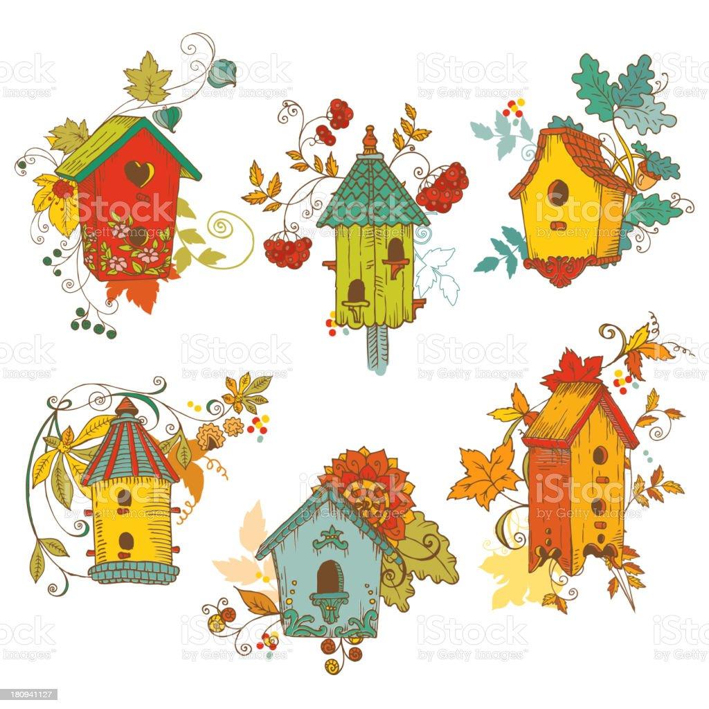 Decorative Autumn branches with Birdhouses vector art illustration