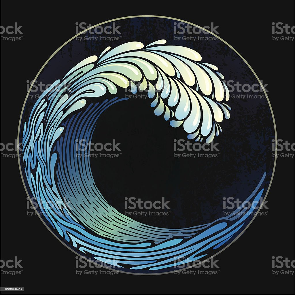 Decorative background in a retro style with wave royalty-free stock vector art