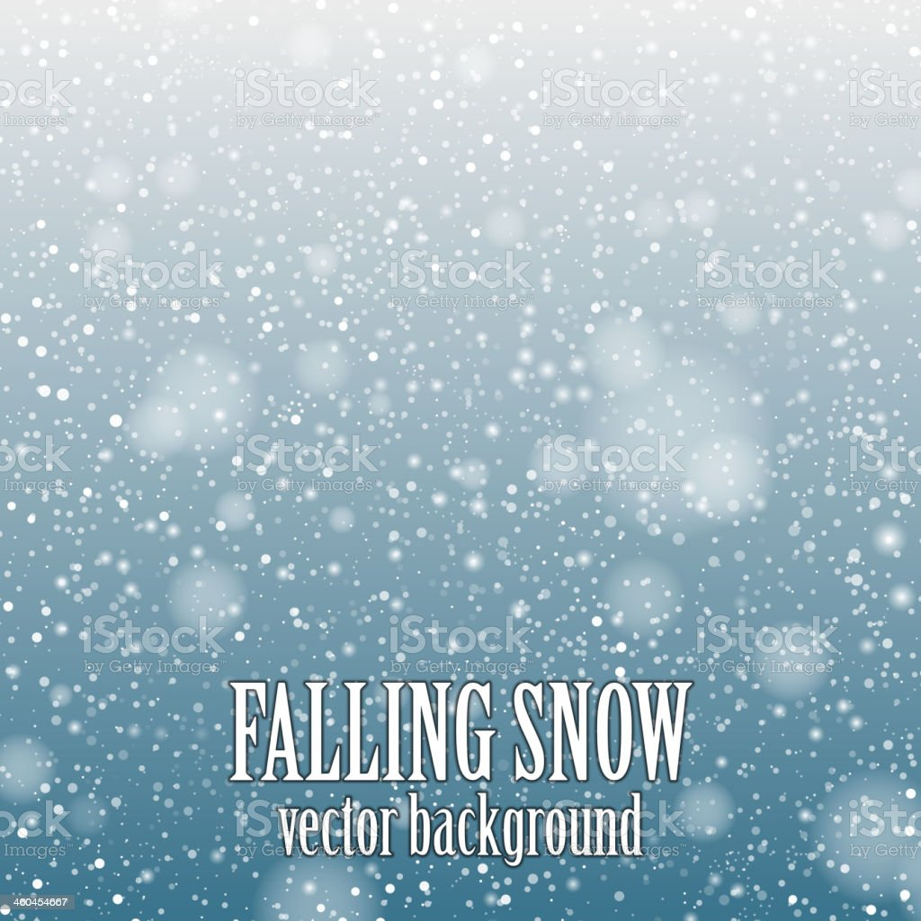 Decorative background of falling snow vector art illustration