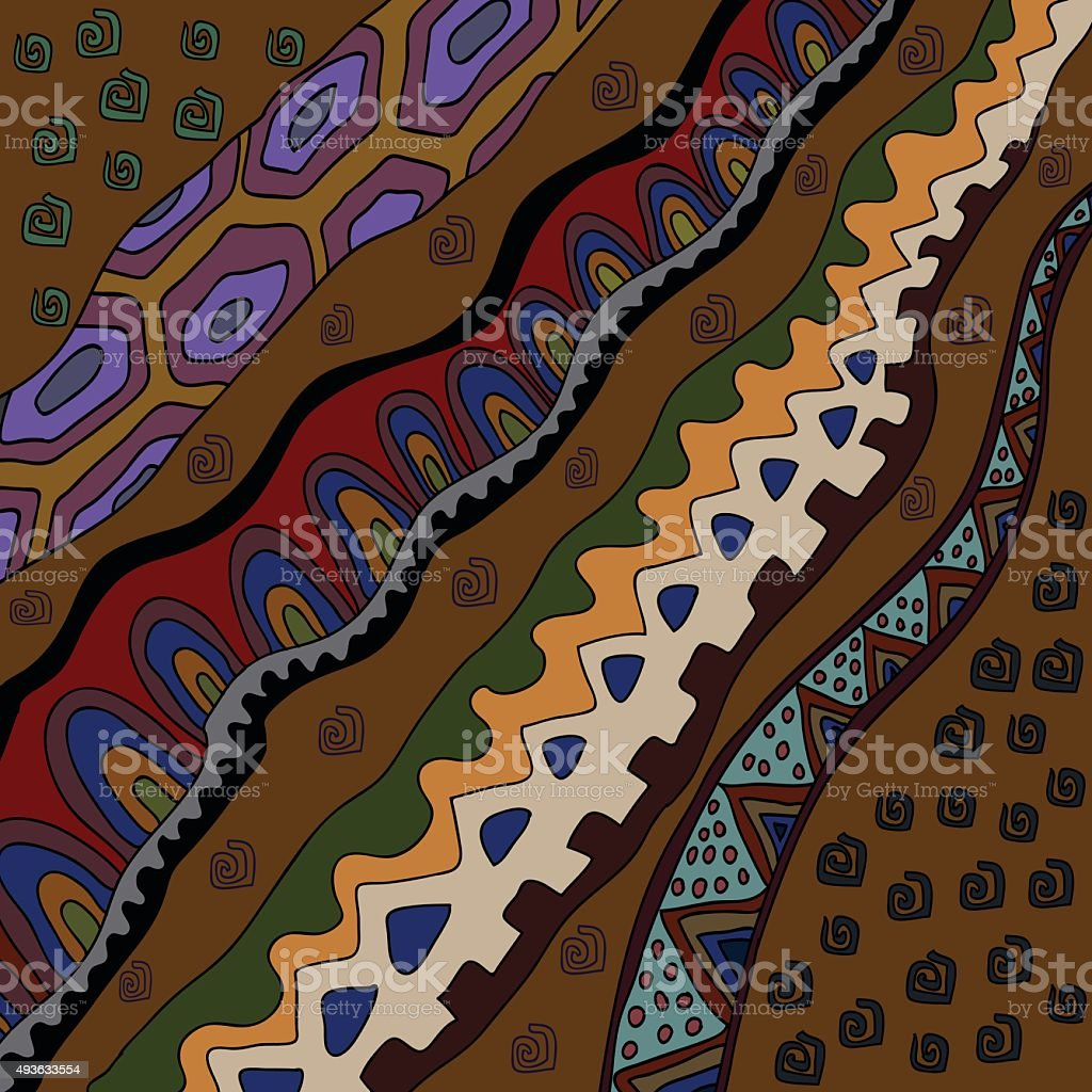 Decorative background with african ethnic patters. vector art illustration