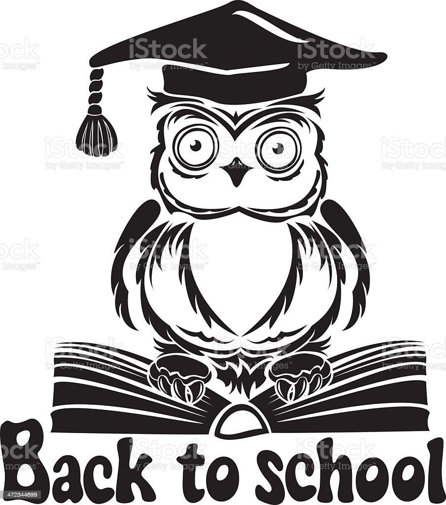 Decorative bird - owl with graduation cap and book royalty-free stock vector art