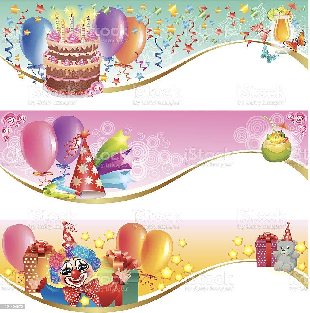 Decorative birthday banners. royalty-free stock vector art
