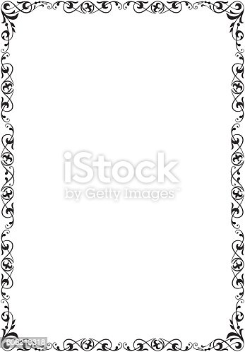 decorative black frame a4 size stock vector art 606213318. Black Bedroom Furniture Sets. Home Design Ideas