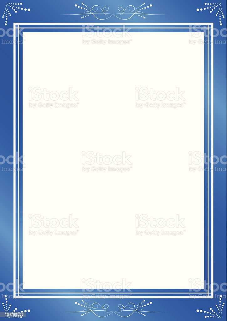 decorative blue frame with white center royalty-free stock vector art