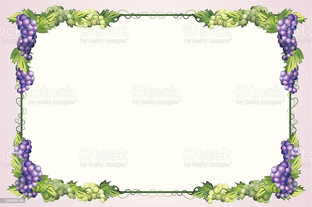 decorative border with grapes vector art illustration