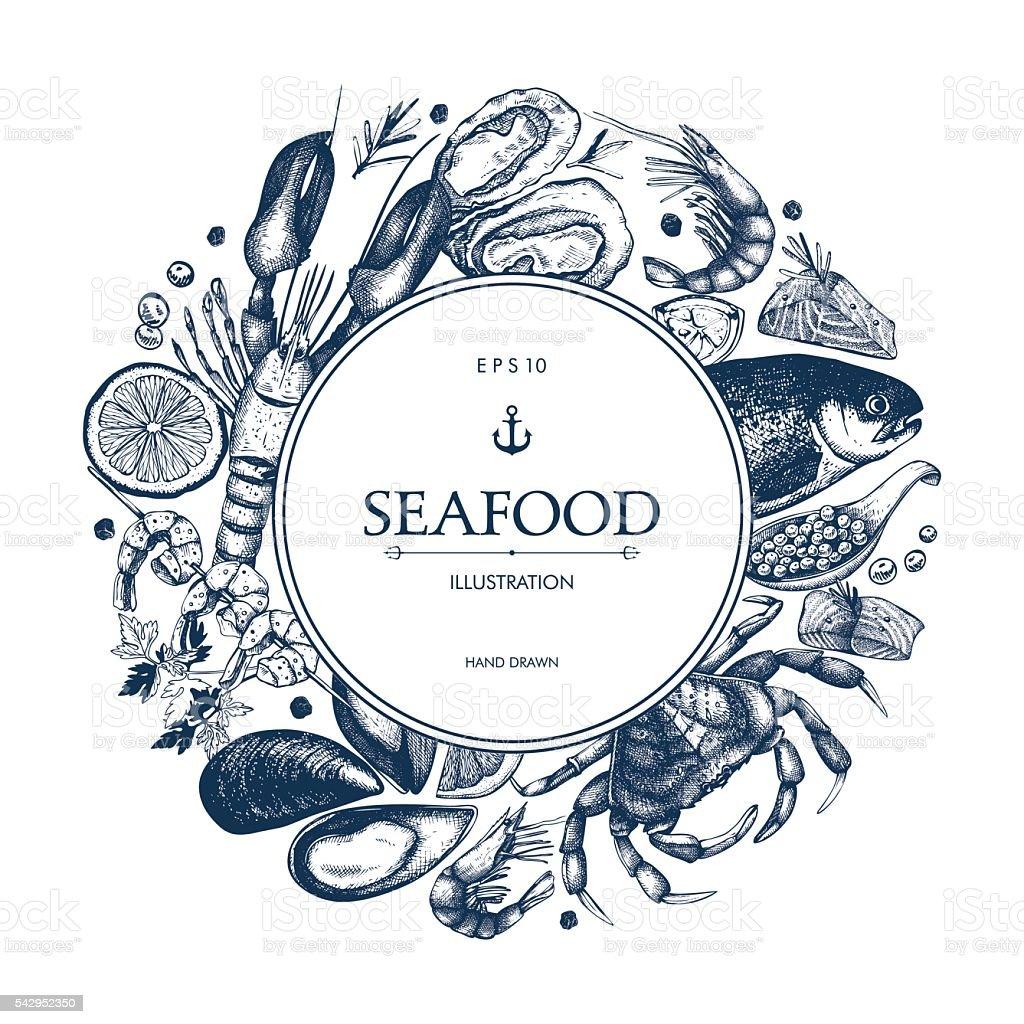 Decorative card or flyer design with sea food sketch. vector art illustration