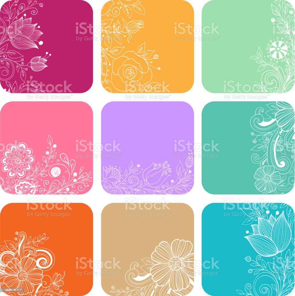 Decorative cards with flowers vector art illustration