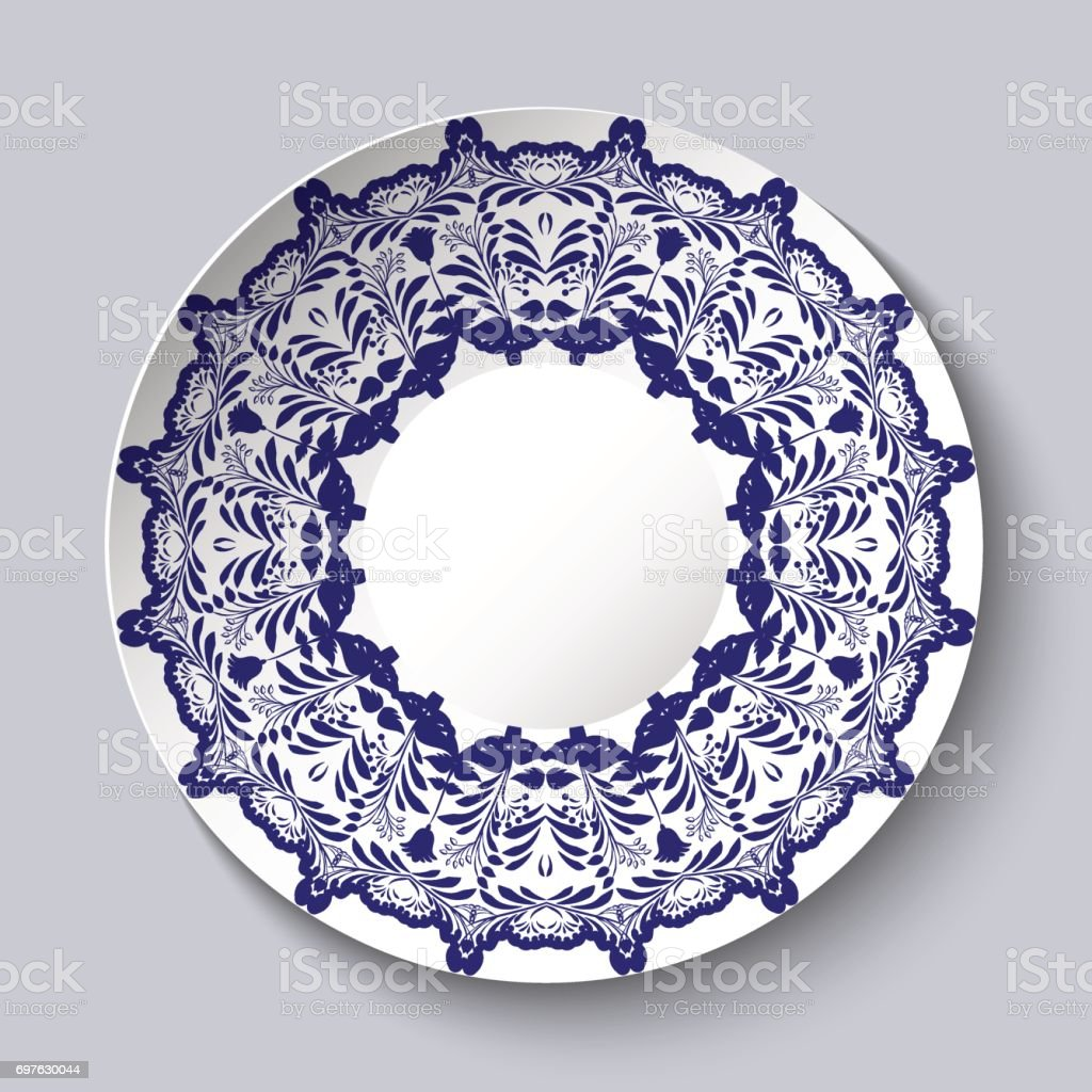 Decorative ceramic plate with a blue floral pattern. vector art illustration