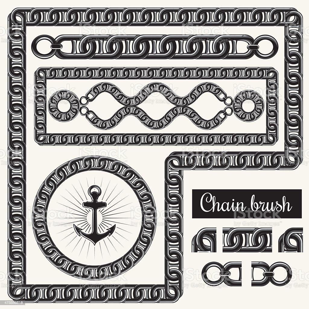 Decorative chain design elements and brush for illustrator vector art illustration