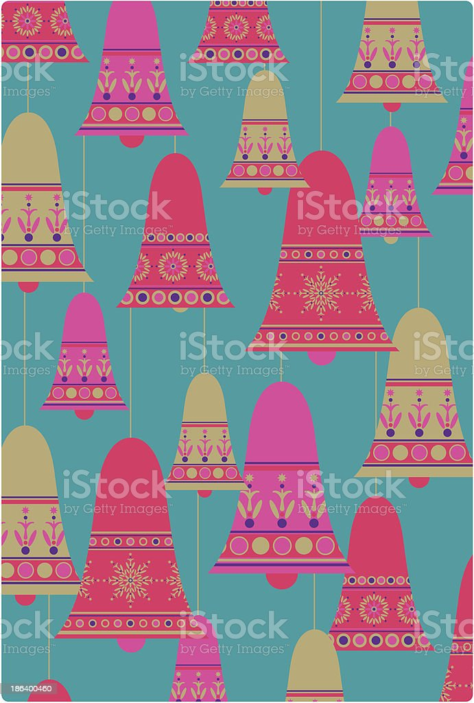 Decorative Christmas Bells in a Pattern royalty-free stock vector art