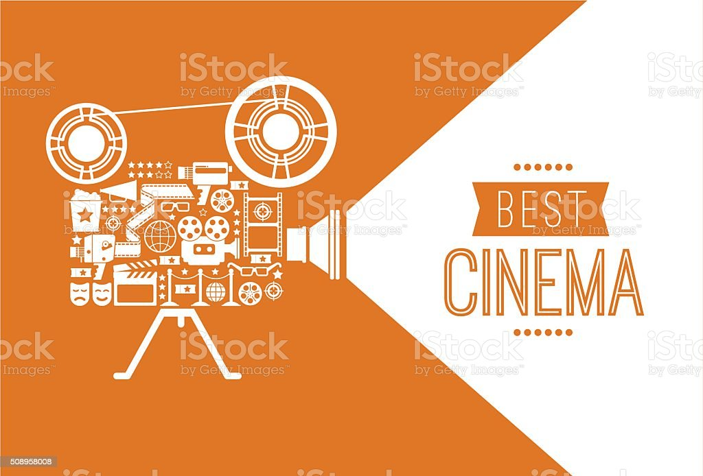 Decorative cinema template. vector art illustration