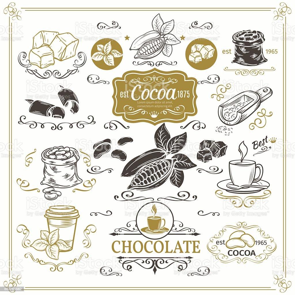 Decorative cocoa schocolate design set. vector art illustration