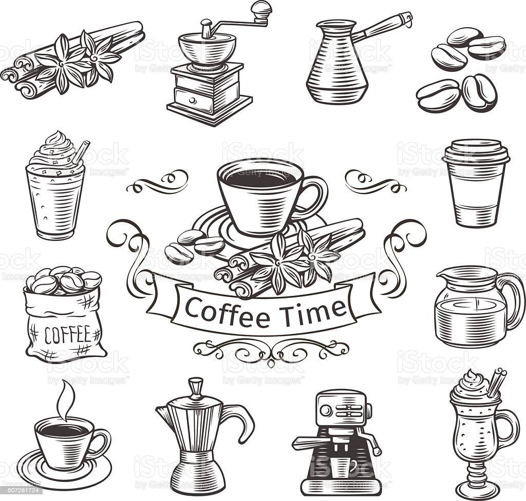Decorative coffee icons set. vector art illustration