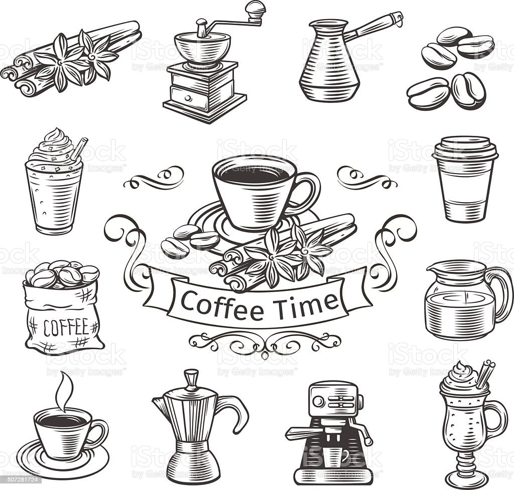 Decorative coffee icons set. vector art illustration