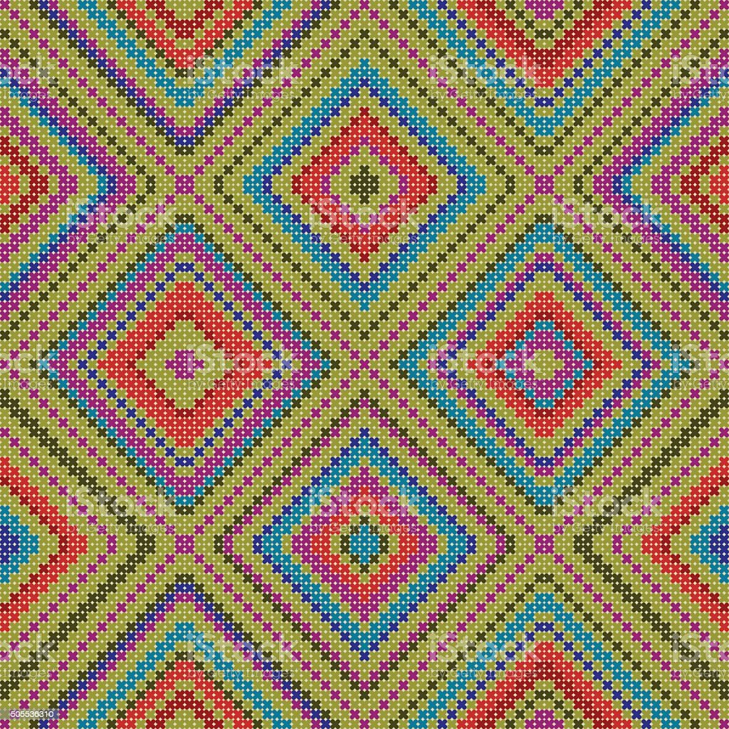 decorative colorful ethnic x-stitch seamless pattern vector art illustration