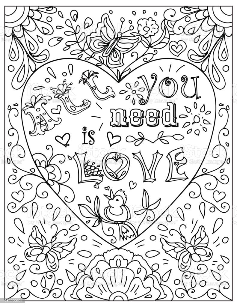 decorative coloring page with heart shaped frame all you need is