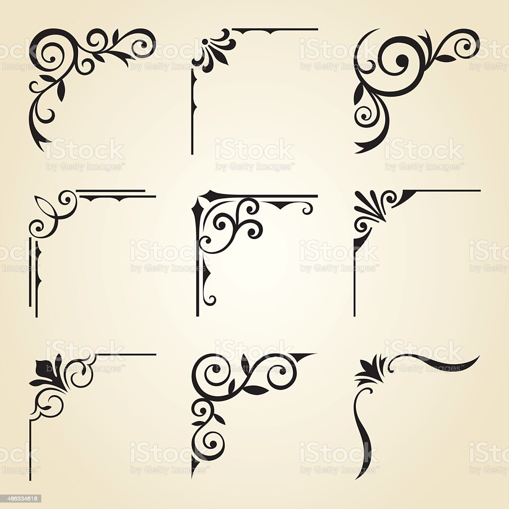Decorative Corner Frames vector art illustration