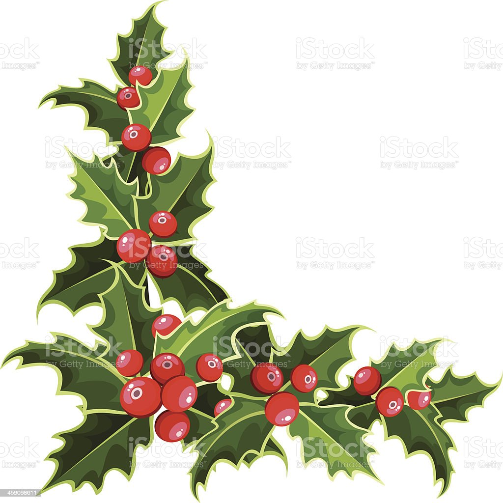 Decorative corner with Christmas holly. Vector illustration. vector art illustration