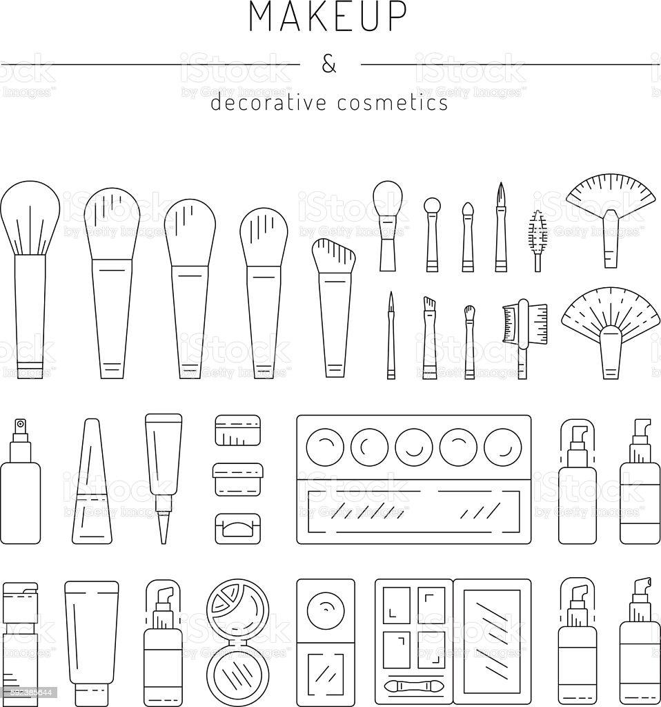 Decorative cosmetics makeup vector art illustration