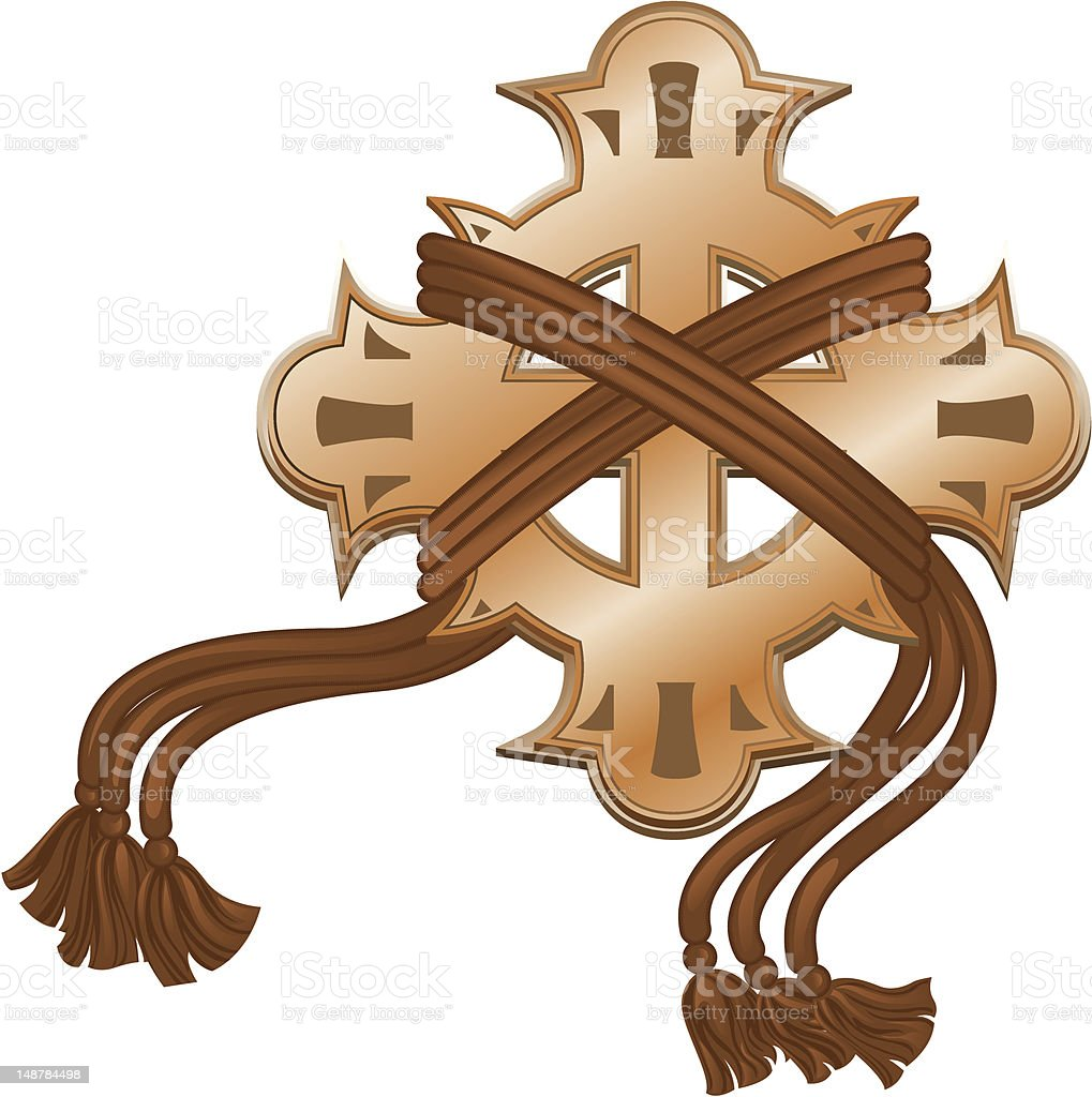 Decorative cross with cords royalty-free stock vector art
