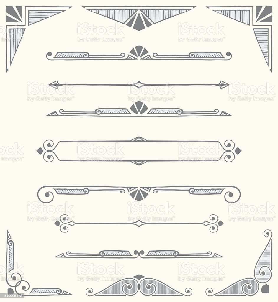 Decorative Dividers, Scrolls and Corners - Hand Drawn vector art illustration