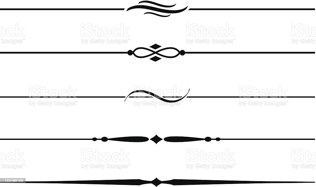 Line Art Vector Photo : Decorative dividing lines and accents stock vector art