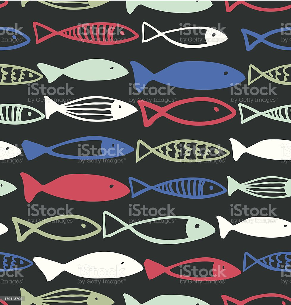 Decorative drawn pattern with funny fish vector art illustration
