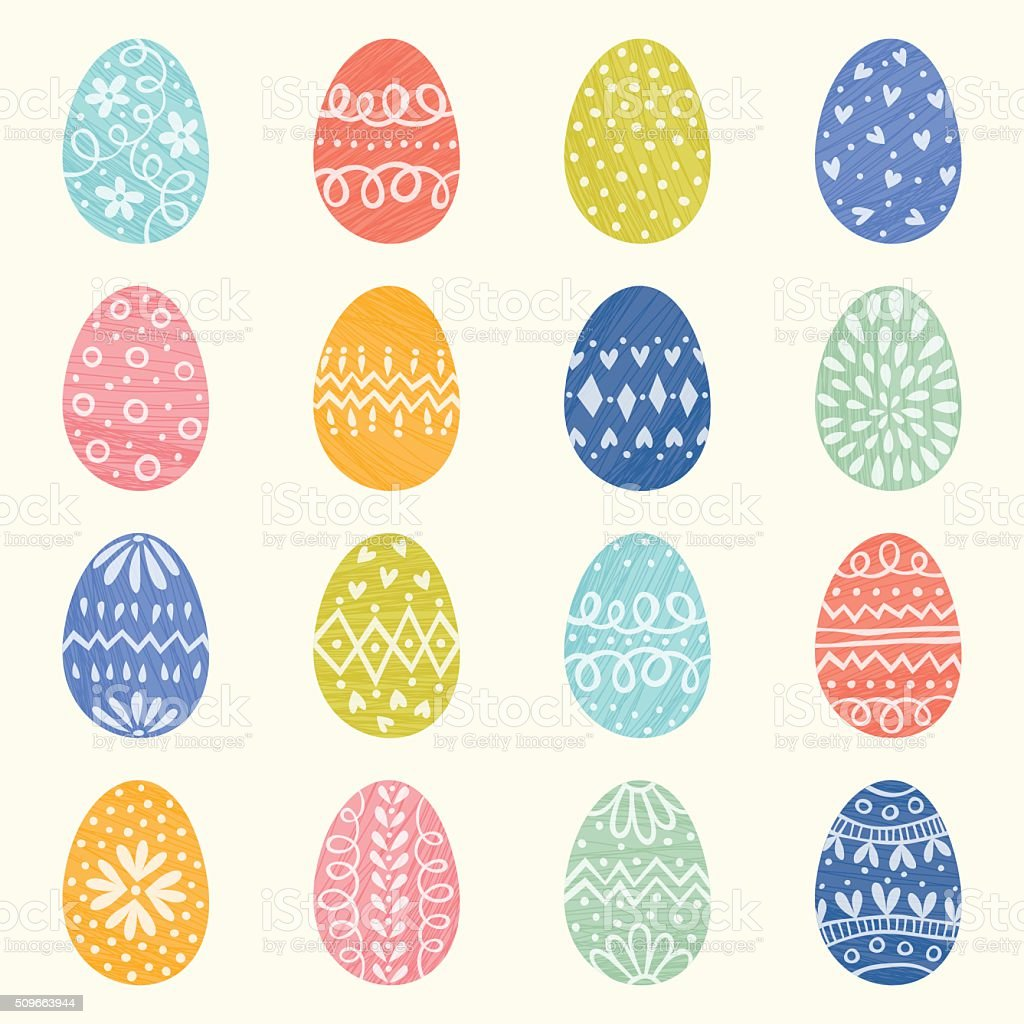 Decorative Easter Eggs vector art illustration