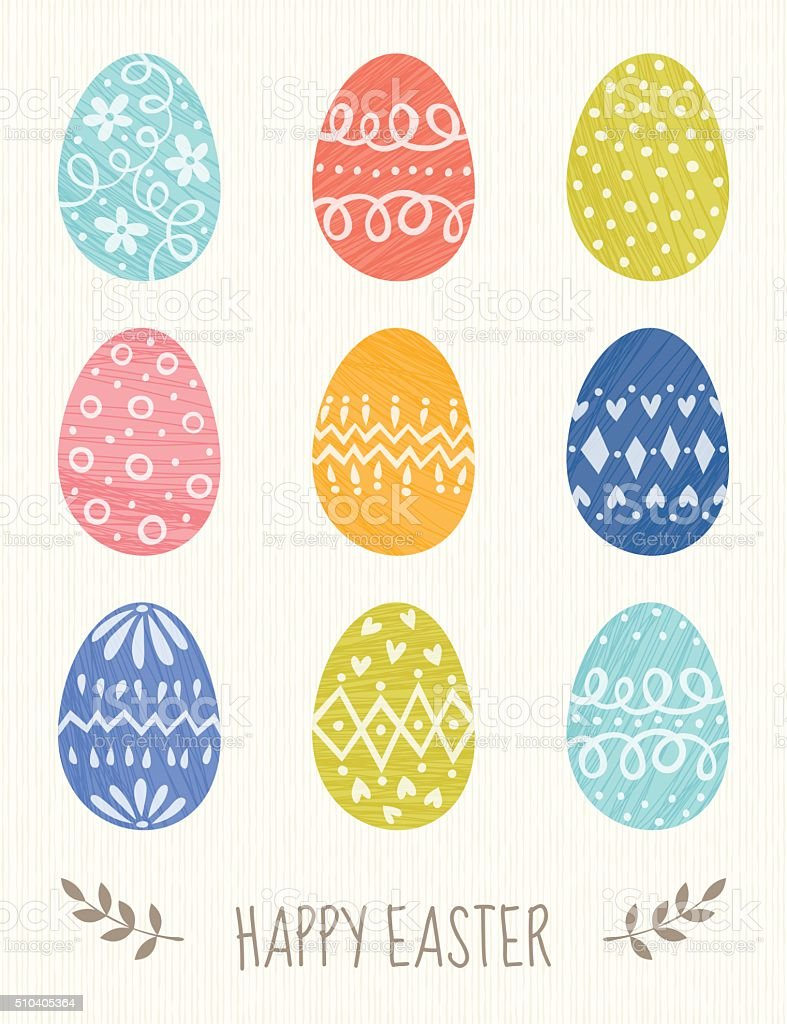 Decorative Eggs Easter Card vector art illustration