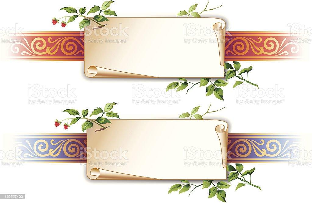 Decorative element with parchment vector art illustration