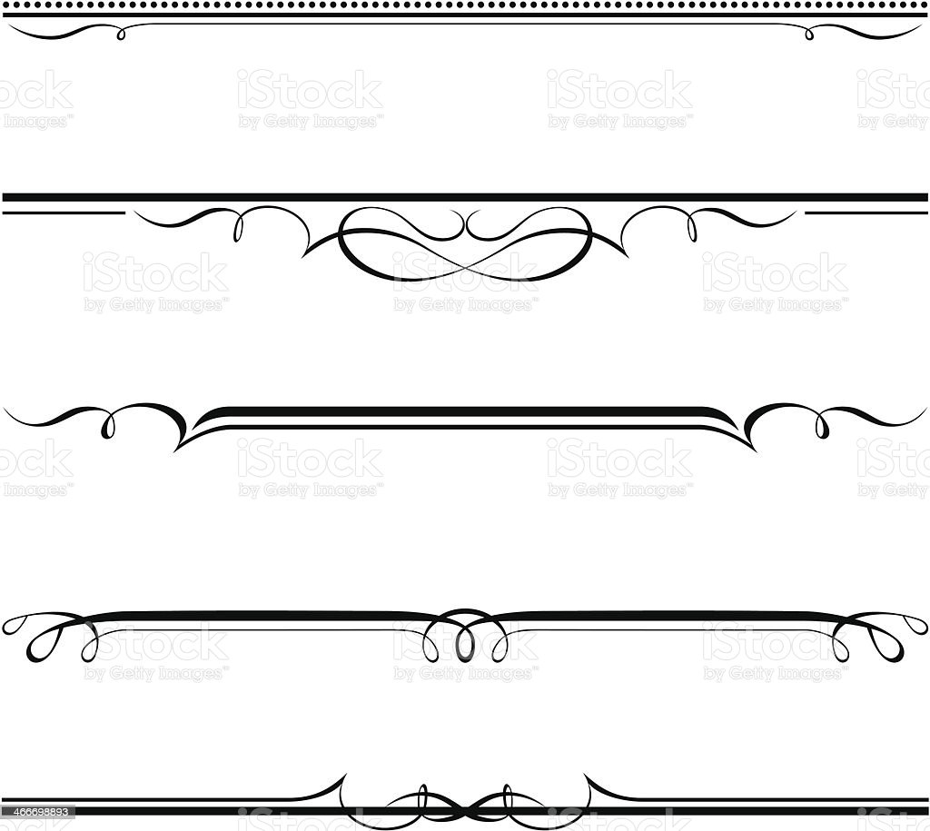 decorative elements, border and page rules vector art illustration