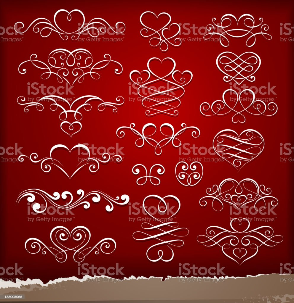 Decorative elements on Valentine's Day royalty-free stock vector art