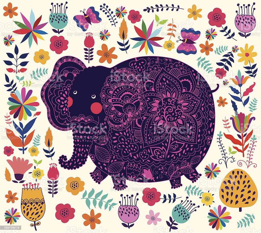 Decorative elephant royalty-free stock vector art